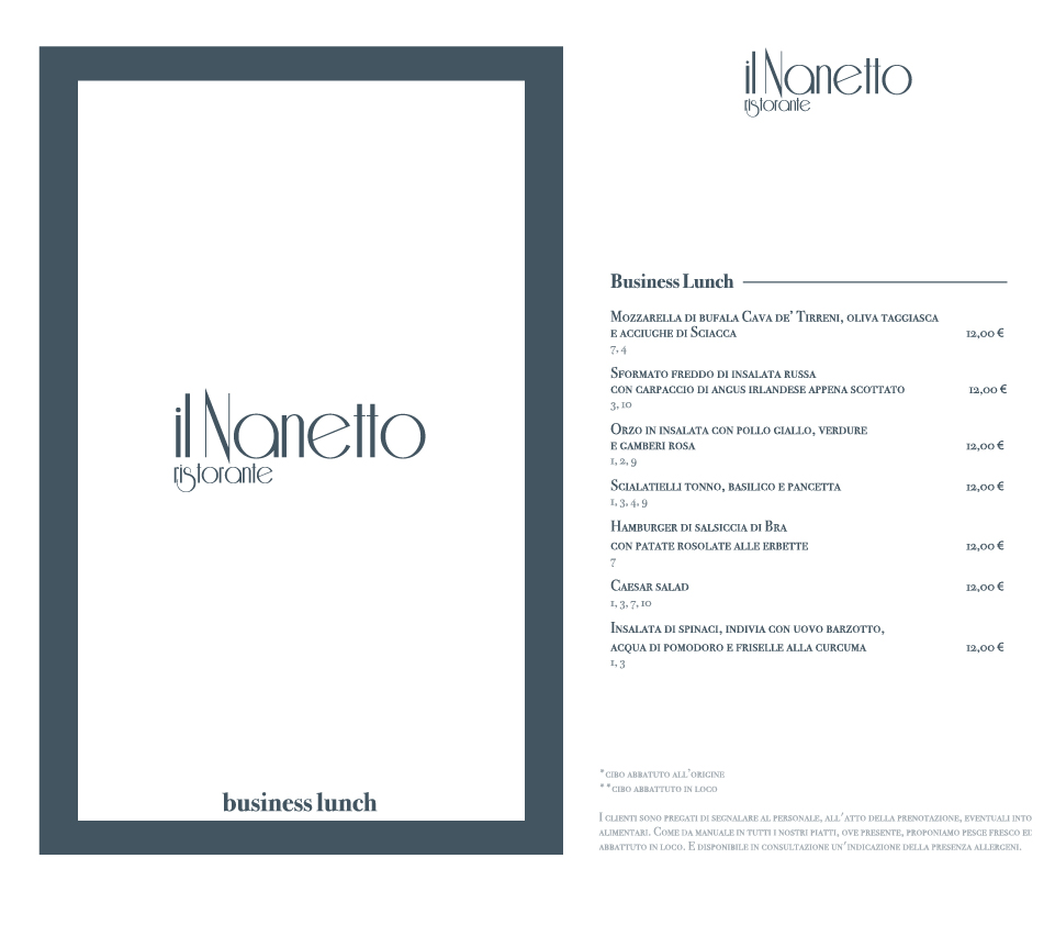 business lunch Ristorante il Nanetto